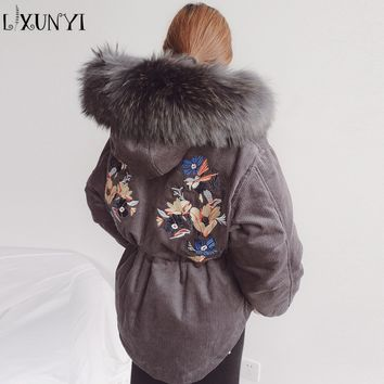 2017 Winter New Women's Corduroy Thickening Parkas Embroidery White Duck Down Real Raccoon Fur Hooded Down Jacket Loose