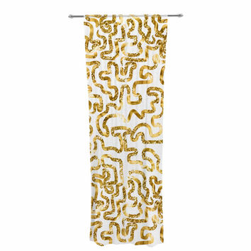 "Anneline Sophia ""Squiggles in Gold"" Yellow White Decorative Sheer Curtain"