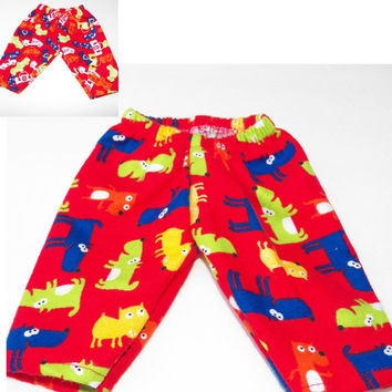 """American Girl Bitty Baby Clothes 15"""" Doll Clothes Red Flannel Pants either Red Puppy Dog print or Red Race Car Print"""