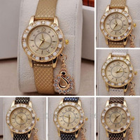 Fashion Women Dress Watches Rhinestone Pendant Quartz Wrist Watch = 1956859268