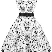 Damask Dress Black and White