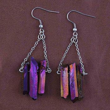 Silver Plated Rock Crystal Purple Earrings