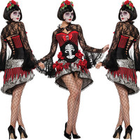 Day of The Dead Costume Sugar Skull Dia de Los Muertos Halloween Fancy Dress