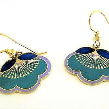 Laurel Burch Earrings, Vintage Pierced Wire, Dark Blue Aqua Floral, Laurel Burch Dangles