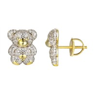 Silver Iced Out Teddy Bear 14k Gold Finish Gift Earrings
