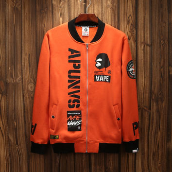 'AAPE'Sports On Sale Hot Deal Couple Hip-hop Jacket Zippers Hoodies Baseball [10425656647]