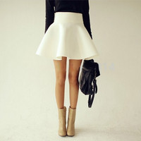 Summer Autumn Big Plus Size Women White Vintage Ladies  High Waist Flared Puff Skirt Mini Skirts