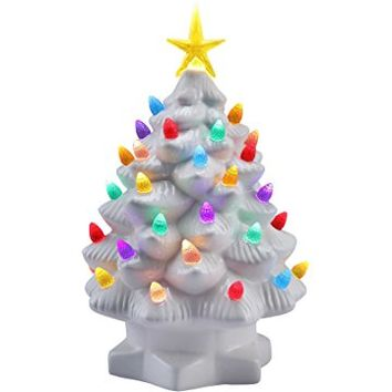 Mr. Christmas 10 Inch Nostalgic Porcelain LED Christmas Tree – Lighted Retro Vintage Table Top Holiday Decoration, White New