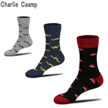 Charlie Caamp Spring And Autumn 100% Cotton Bearded Black Hat Print Men's Socks