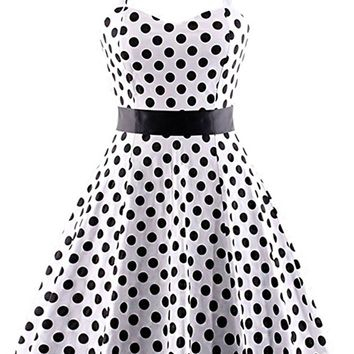 Atomic Bowed Polka Dot Halter Swing Dress