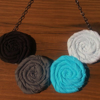 Rosette Bib Necklace in Black, White, Gray and Aqua Blue - Rolled Fabric Flower Necklace - Jewelry for Weddings, Birthdays, Everyday