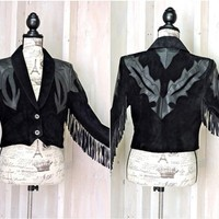 Fringed black leather jacket  size M / Vintage 70 / 80s  / cropped / Bohemian / Western / Motorcycle / Rocker / Pioneer Wear USA