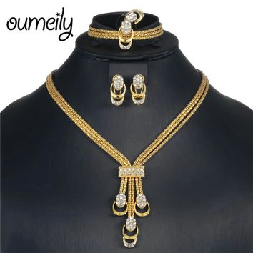 OUMEILY African Jewelry Set 2018 Nigerian Wedding Indian Bridal Jewelry Sets  Gold Silver Color Crystal Jewellery Set Costume