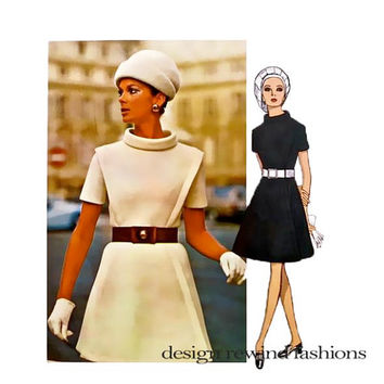 1960s VOGUE DRESS PATTERN MoD Cocktail Evening Day Dresses Pierre Cardin Vogue 2075 Paris Original Bust 34 Vintage Womens Sewing Patterns