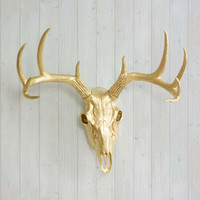 The Gold Faux Deer Head Skull