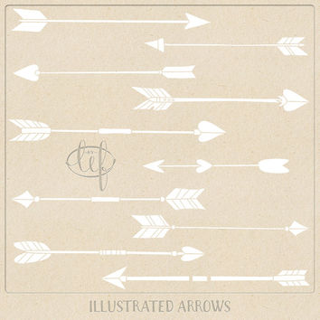 Vector Arrow Clip art Graphics White (Set 2) with Photoshop Brushes. Designer pack filled with hand drawn arrows in EPS, Ai and Brush format