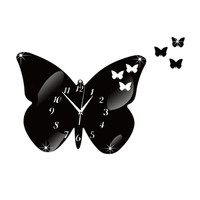 DIY Creative Decoration Butterfly Princess Mirror Quartz Wall Clock    B black