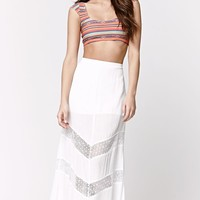 LA Hearts Crochet Inset Maxi Skirt - Womens Skirt - White