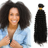 "OneDor® Unprocessed Virgin Mongolian Afro Kinky Curly Human Hair Weave Extensions for Black Women Natural Black 100g/Bundle (1 Bundle 12"")"