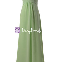 Strapless Chiffon Bridesmaid Dress Light Green Party Wears Evening Gown(BM2442L)
