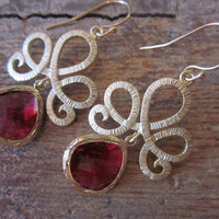 Red Garnet Earrings with Matte Gold Tiara Connectors  by laalee