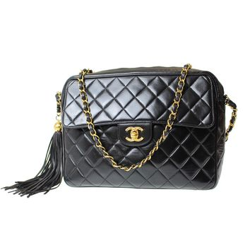 CHANEL Matelasse Quilted Chain Shoulder Bag Black Leather Vintage Auth #B10 W