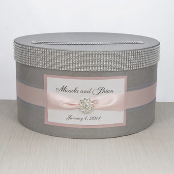 Card box / Wedding Box / Wedding money box - silver and light pink - personalized