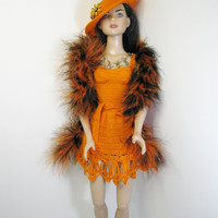 """American Model Tonner 22"""" Doll crochet pumpkin color short dress, hat, pin, boa, necklace and belt. Outfit only, doll, shoes not included."""