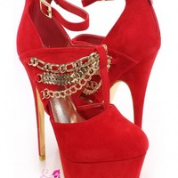 Red Gold Chain Strappy Heels Faux Suede