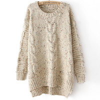 Asymmetry Long Sleeve Round Neck Floral Sweater