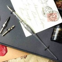 Victorian trading Co. - www.victoriantradingco.com - Eleanor Roosevelt's Sterling Dip Pen Set