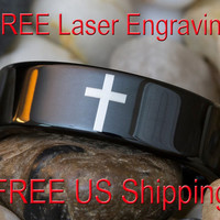 Tungsten Ring 7mm Black Pipe Religious Cross Lasered Design-Free Inside Engraving