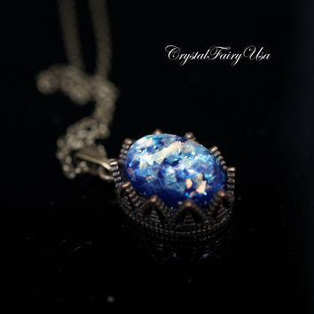 Starry Night Van Gogh Starry Sky Necklace - Swarovski Blue Fire Opal Necklace - Opal Jewelry - Opal Pendant