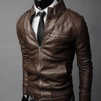 Men's PU Leather Motorcycle Jacket (3 Color Options)