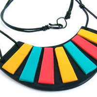 Stripes polymer clay bib necklace - yellow, aqua, hot pink mosaic pieces on black background, geometric 2012 fashion colors, neon spring