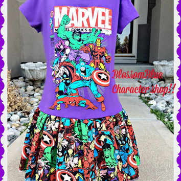 marvel dress Spiderman hulk captan america super hero 10/12 ready to ship today