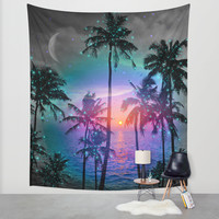 Dream of Paradise (Palm Tree Paradise) Wall Tapestry by Soaring Anchor Designs