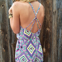Cross Back Southwestern Romper - FINAL SALE