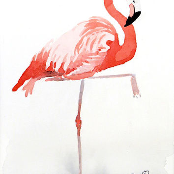 Bird art - Watercolor Painting Print - Pink flamingo painting Nature art Zoo animal Coral decor wall art kid's room nursery Child's, 8x10 IN