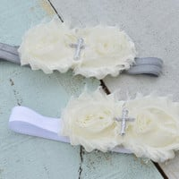 Baptism Headband/ Christening Headband/ Cross Headband/ Ivory