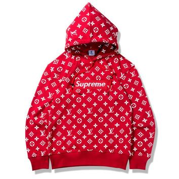 Supreme and LV Print Hooded Hedging Sweater Pullover Top Tagre™