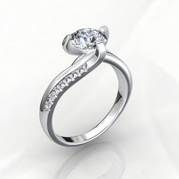 Fashion Twisted Engagement Ring 3D CAD Design Made To Order JT18