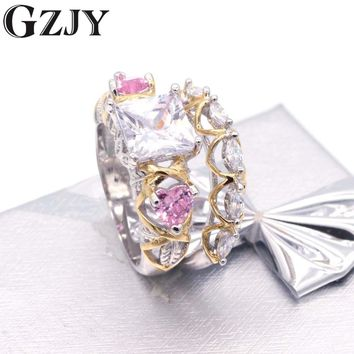 GZJY Fashion Princess Cut Unique Leaf Three-stone Double Gold Color Trellis Wedding Bridal Set Ring For Women Birthday Gift