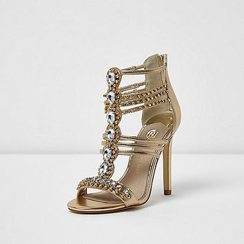 Gold metallic embellished caged sandals - Sandals - Shoes & Boots - women