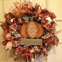 Fall Burlap Welcome Wreath, Fall Burlap Wreath, Fall Welcome Wreath, Fall Pineapple Wreath, Chevron Burlap Wreath, Thanksgiving Wreath