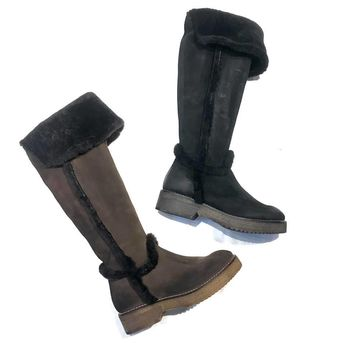 Manas Suede/Shearling Knee High Boots