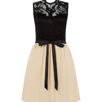 Black and Nude Lace Bow Skater Dress
