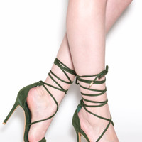 Ride Or Tie Faux Suede Lace-Up Heels