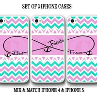 Personalized Mint Pink Chevron BFF Best Friends iPhone Case -3 iPhone 4 4s Cases