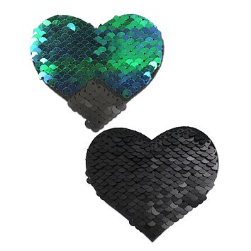Opal/Black Color Changing Reversible Sequin Heart Pasties